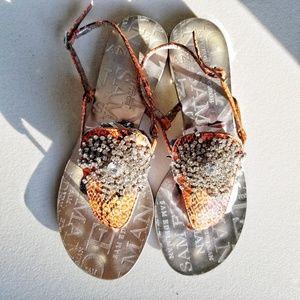 Sam Edelman snake skin diamond studded sandals